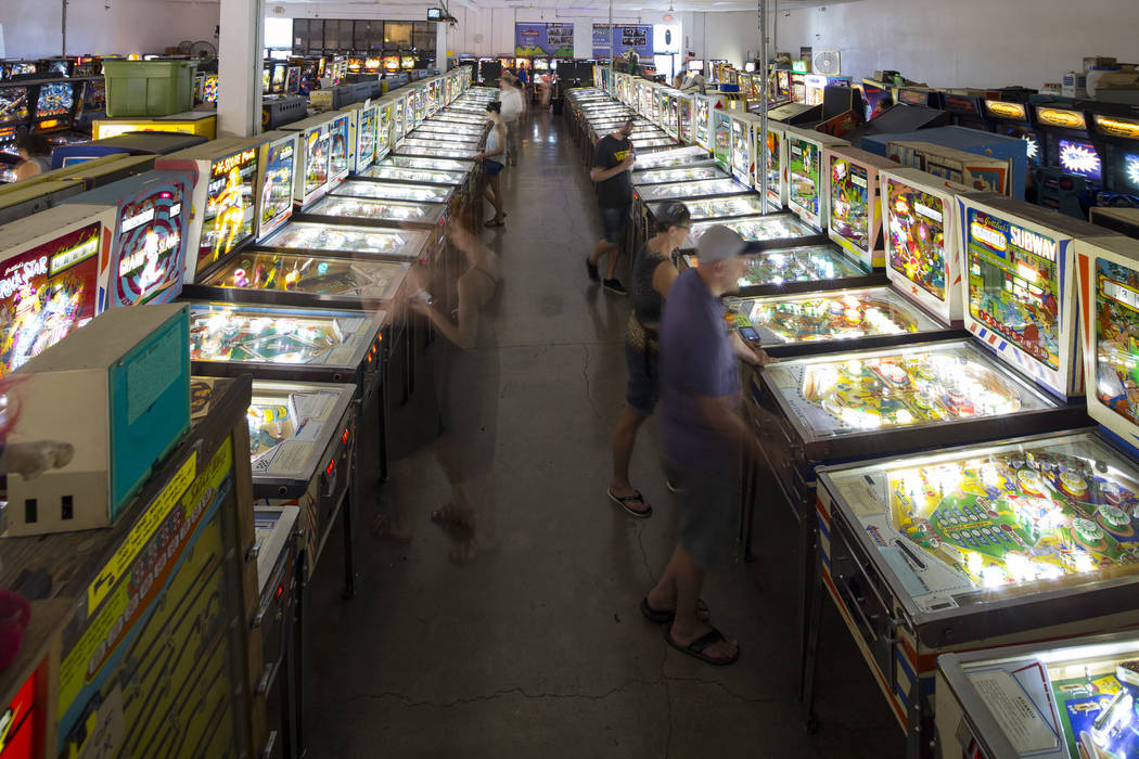 Patrons visit the Pinball Hall of Fame located at 1610 E. Tropicana Avenue in Las Vegas on Saturday, July 28, 2018. Richard Brian Las Vegas Review-Journal @vegasphotograph
