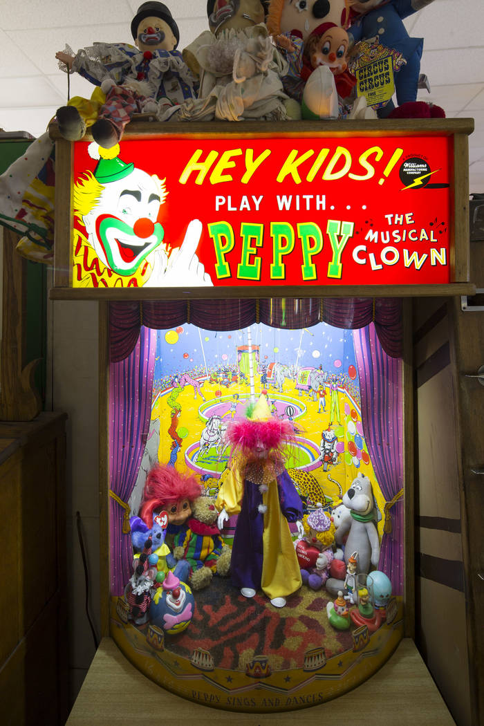 Peppy The Musical Clown arcade by Williams at the Pinball Hall of Fame located at 1610 E. Tropicana Avenue in Las Vegas on Saturday, July 28, 2018. Richard Brian Las Vegas Review-Journal @vegaspho ...