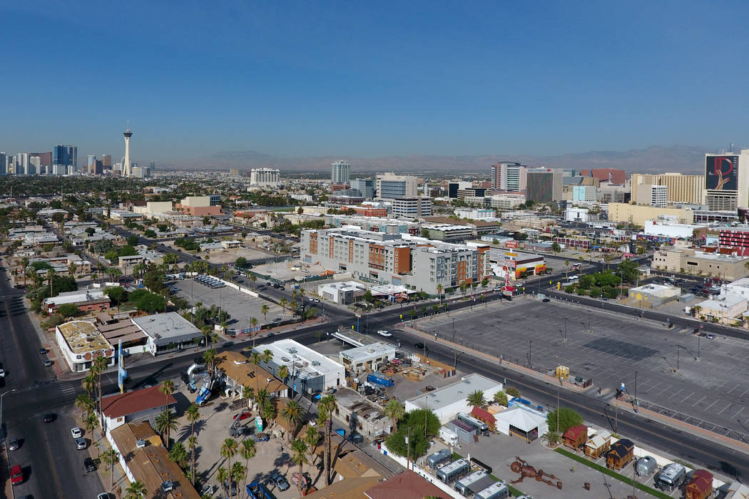 Aerial photo of downtown housing on East Fremont Street on Monday, June 25, 2018. Michael Quine Las Vegas Review-Journal @Vegas88s