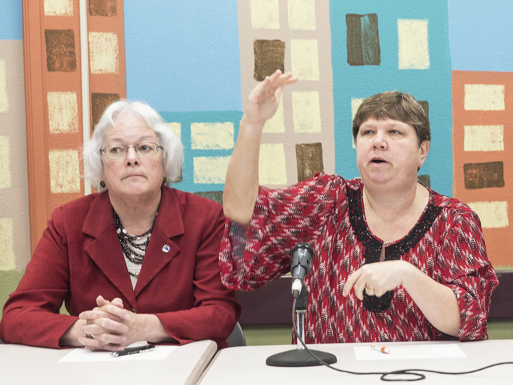 Trustee Carolyn Edwards, left, and Deanna L. Wright address the media during a press conference organized by the Clark County School District to call on lawmakers to put revenues from marijuana sa ...