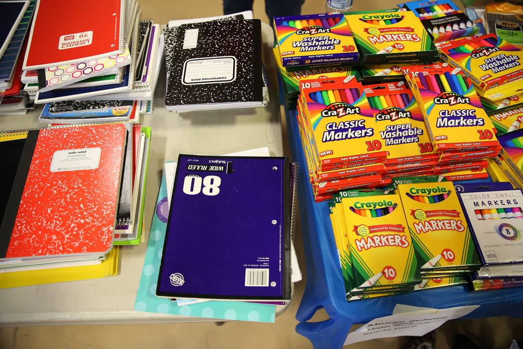 School supplies for foster children during an event sponsored by Foster Change at the Clark County Family Services Department in Las Vegas, Thursday, July 26, 2018. Erik Verduzco Las Vegas Review- ...