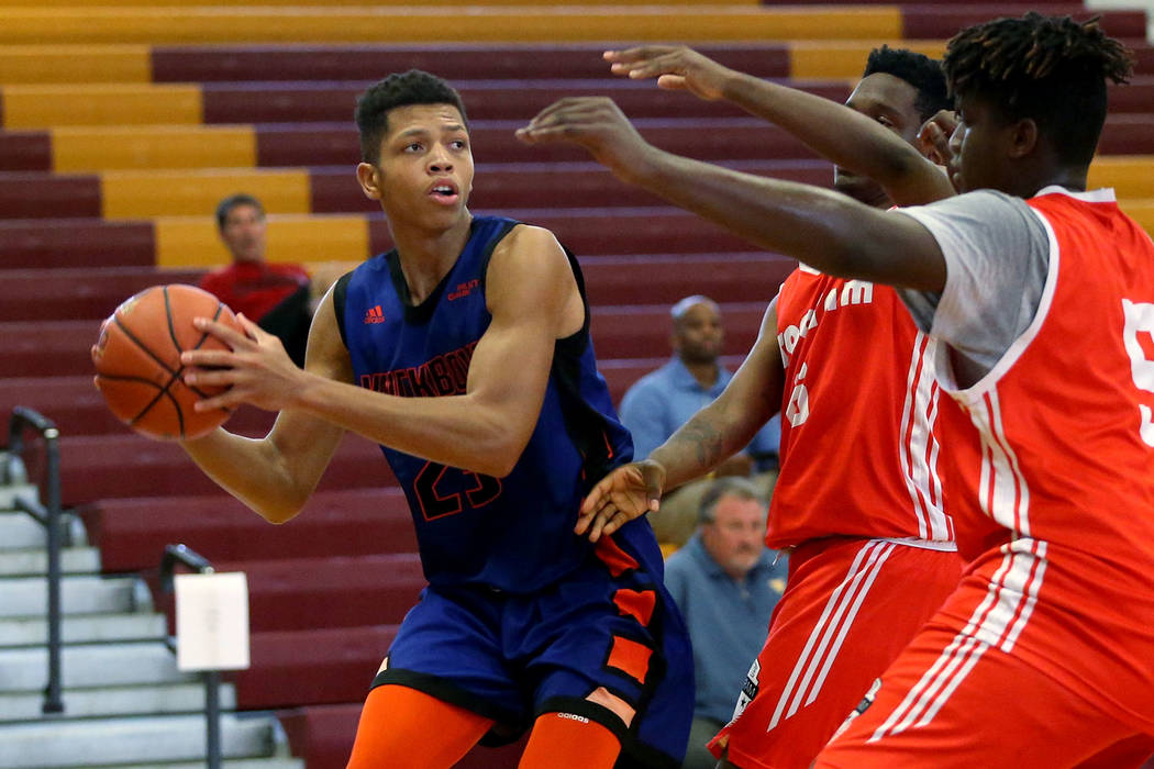 Las Vegas Knicks guard Nick Blake (23) looks for an open pass during his basketball game at Del Sol Academy of the Performing Arts in Las Vegas, Thursday, July 26, 2018. Erik Verduzco Las Vegas Re ...