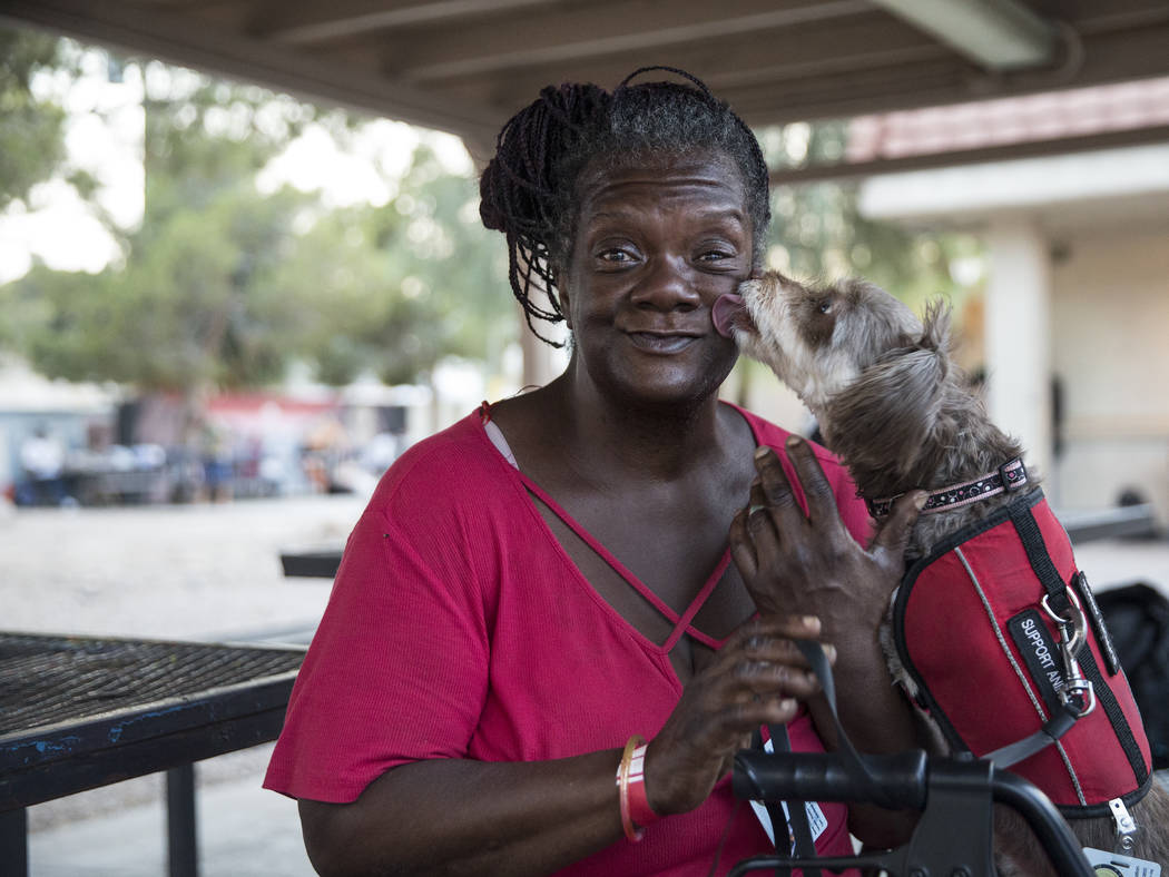 Rosslyn Hubbard's dog Da Brat licks her tears off her face after Hubbard discussed the circumstances that caused her homelessness on Thursday, July 27, 2018, at the city of Las Vegas' homeless cou ...