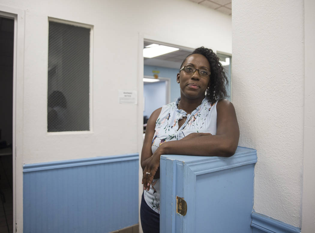 Alexandria Anderson, executive director of the Southern Nevada Community Health Improvement Program, at the city of Las Vegas' homeless courtyard on Thursday, July 27, 2018. The courtyard is now o ...