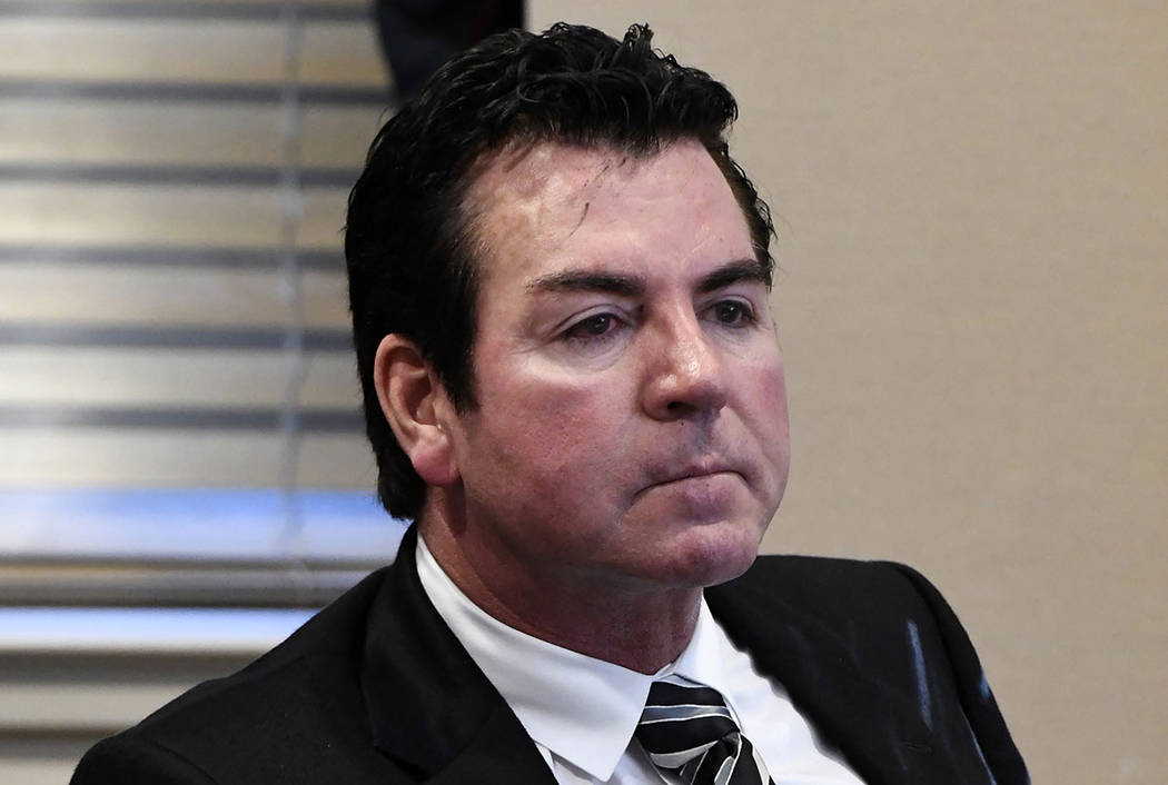 In this Wednesday, Oct. 18, 2017, Papa John's founder and CEO John Schnatter attends a meeting in Louisville, Ky. (AP Photo/Timothy D. Easley)