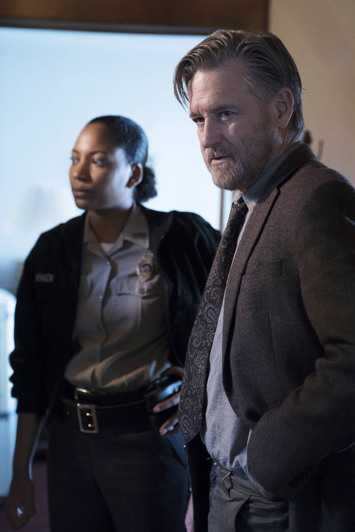 "Natalie Paul as Heather and Bill Pullman as Detective Lt. Harry Ambrose on ""The Sinner."" (Photo by: Peter Kramer/USA Network)"