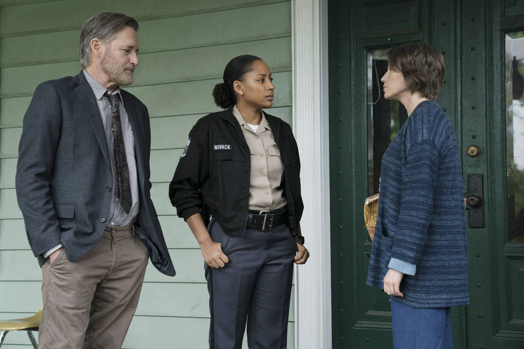 "Bill Pullman as Detective Lt. Harry Ambrose, Natalie Paul as Heather, Carrie Coon as Vera Walker on ""The Sinner."" (Photo by: Peter Kramer/USA Network)"
