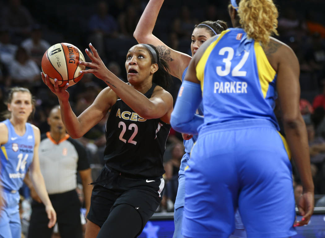 Las Vegas Aces center A'ja Wilson (22) shoots past the Chicago Sky during the second half of a WNBA basketball game at Mandalay Bay Events Center in Las Vegas on Thursday, July 5, 2018. Chase Stev ...