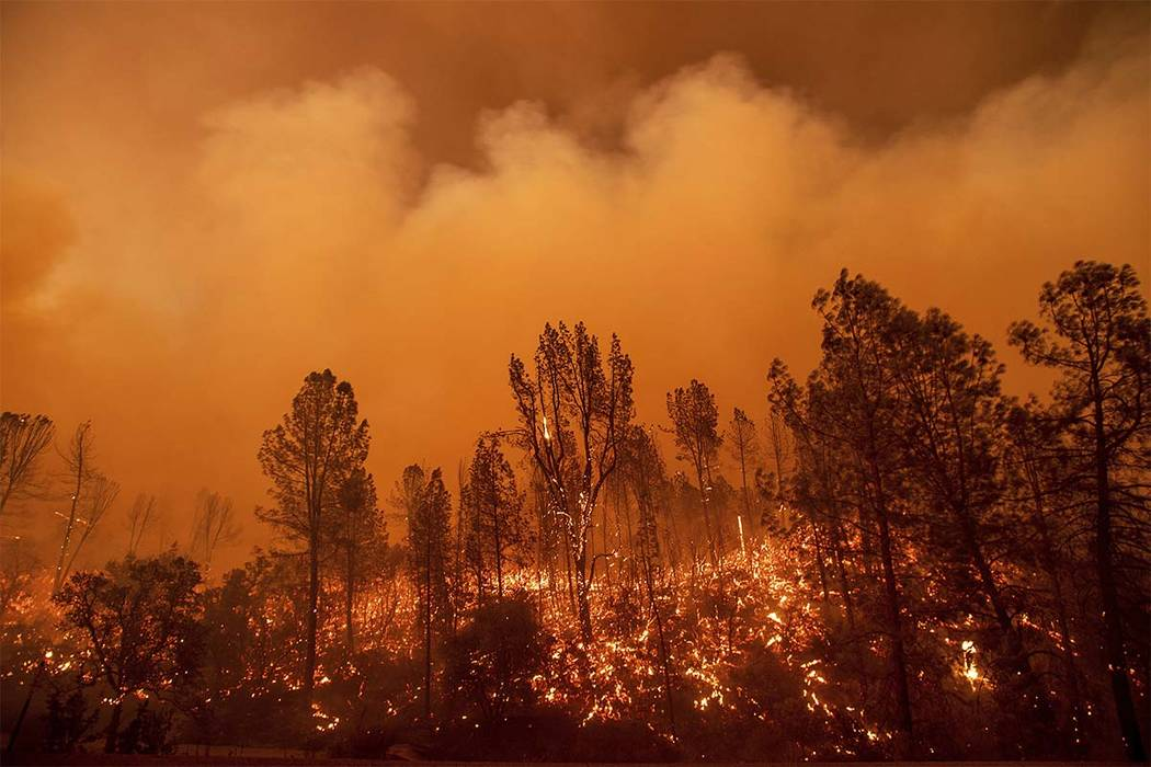 The Carr Fire burns along Highway 299 in Redding, Calif., on Thursday, July 26, 2018. (Noah Berger/AP)