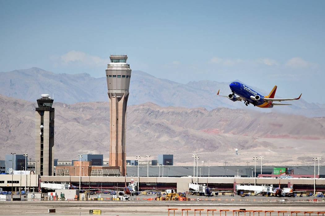 A Southwest Airline passenger jet takes off from McCarran International Airport in 2015. (Las Vegas Review-Journal)