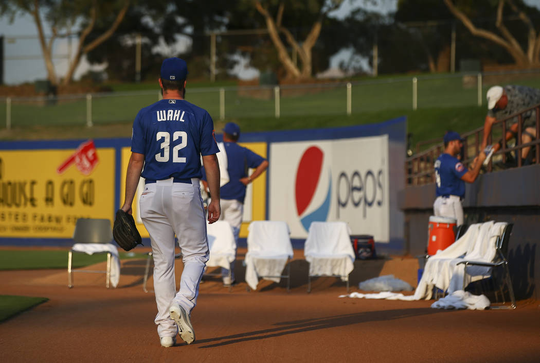 Las Vegas 51s pitcher Bobby Wahl (32) takes the field before the start of a baseball game against the Nashville Sounds at Cashman Field in Las Vegas on Thursday, July 26, 2018. Chase Stevens Las V ...