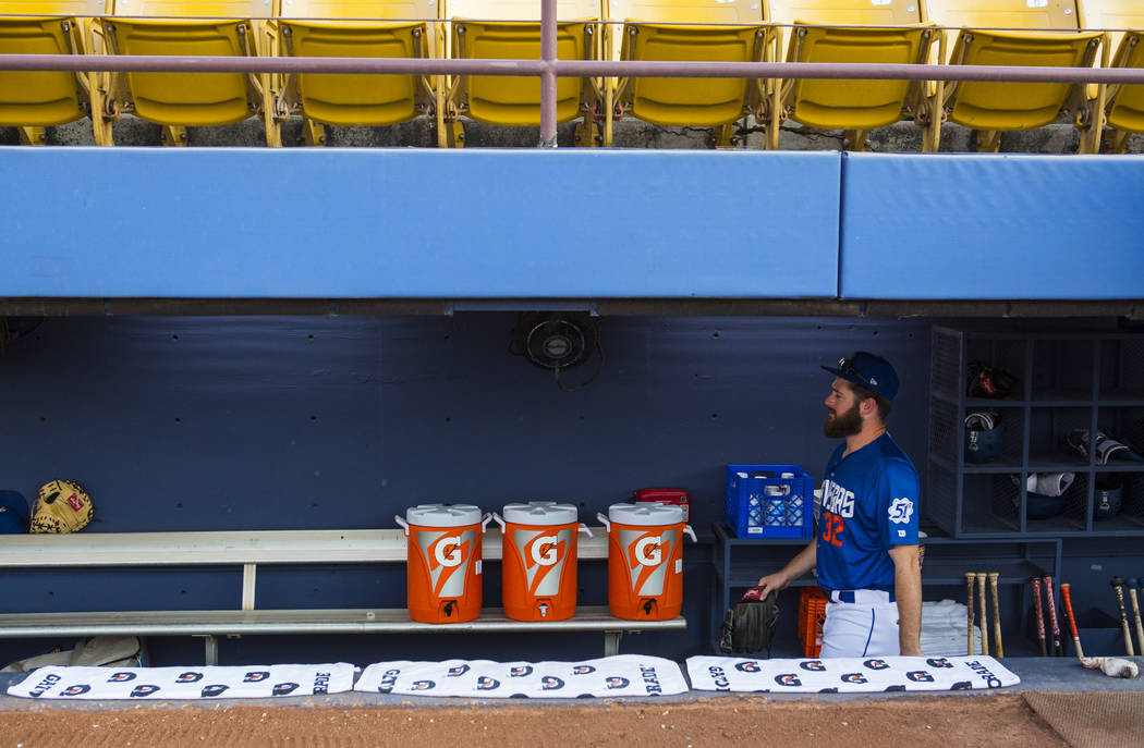 Las Vegas 51s pitcher Bobby Wahl (32) walks through the dugout before taking the field ahead of a baseball game against the Nashville Sounds at Cashman Field in Las Vegas on Thursday, July 26, 201 ...