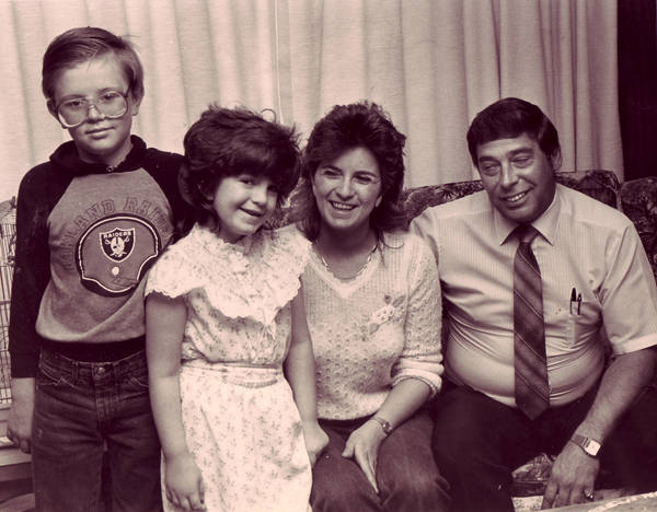 April Rhodes, 7, who was found dead Nov. 24, 1986, in North Las Vegas after her family reported her missing, is shown with her brother Thomas Rhodes, 10, and parents Katherine Rhodes and Jim Rhode ...