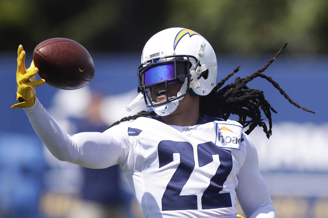 Los Angeles Chargers' Jason Verrett catches a pass during practice at the NFL football team's minicamp Thursday, June 14, 2018, in Costa Mesa, Calif. (AP Photo/Chris Carlson)