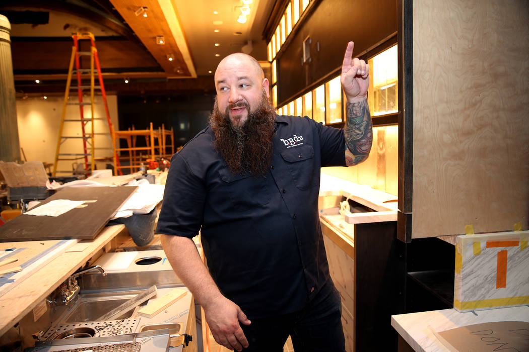 Chef and owner Ralph Perrazzo gives a tour of the future BBD's restaurant at Palace Station hotel-casino in Las Vegas, Friday, July 20, 2018. Erik Verduzco Las Vegas Review-Journal @Erik_Verduzco