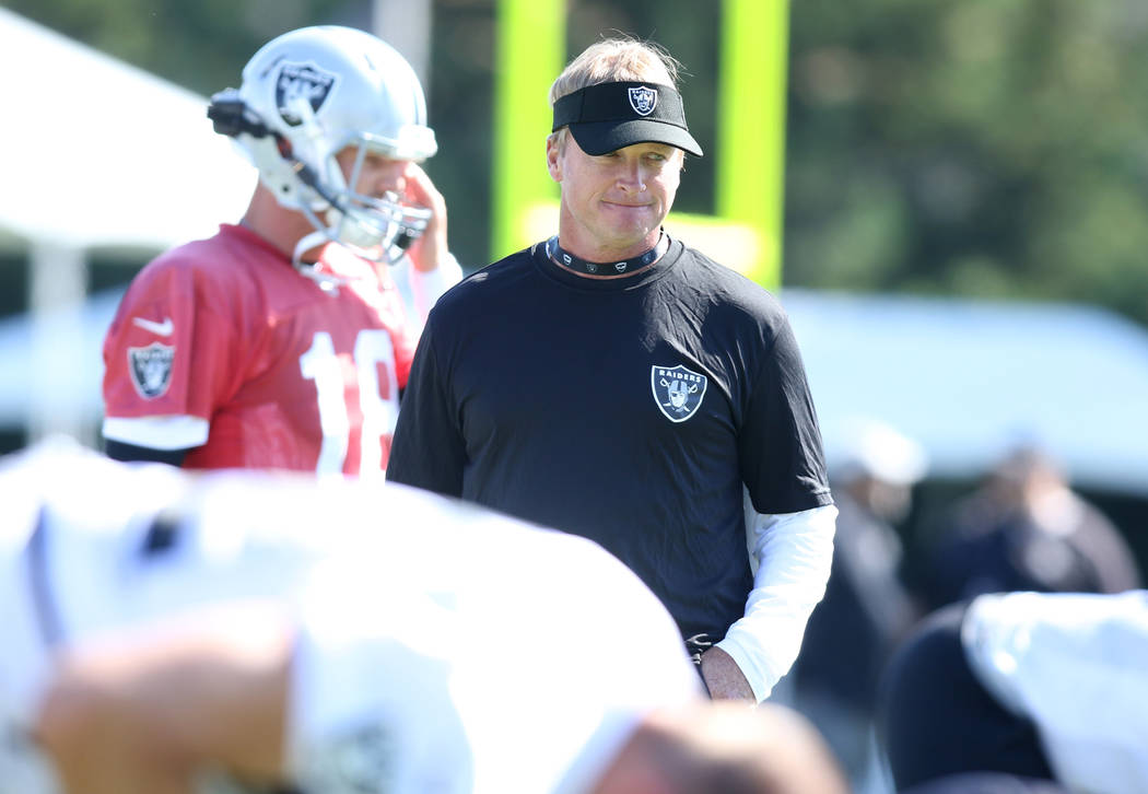 Oakland Raiders head coach Jon Gruden looks on as the team warms up at their NFL training camp in Napa, Calif., Friday, July 27, 2018. Heidi Fang Las Vegas Review-Journal @HeidiFang