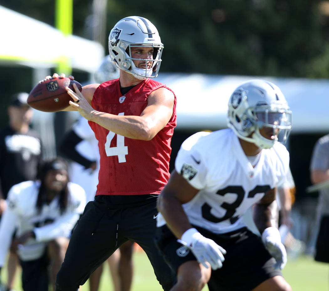 Oakland Raiders quarterback Derek Carr (4) looks for an open receiver at the team's NFL training camp in Napa, Calif., Friday, July 27, 2018. Heidi Fang Las Vegas Review-Journal @HeidiFang