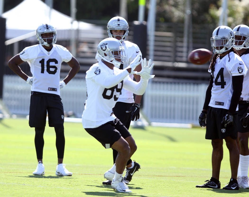 Oakland Raiders wide receiver Amari Cooper (89) catches the football at the team's NFL training camp in Napa, Calif., Friday, July 27, 2018. Heidi Fang Las Vegas Review-Journal @HeidiFang