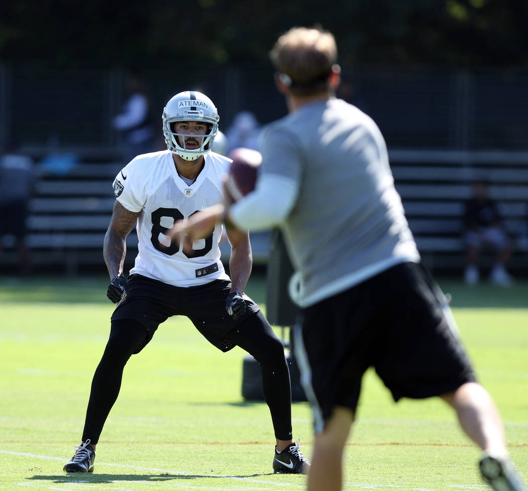 Wide receiver Marcell Ateman (88) goes through drills at the Oakland Raiders training camp in Napa, Calif., Friday, July 27, 2018. Heidi Fang Las Vegas Review-Journal @HeidiFang