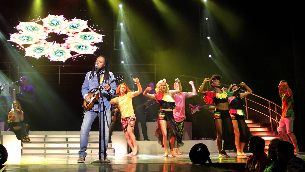 """The artist known as OneGunn is shown performing as reggae legend Bob Marley at """"Legends in Concert"""" at Flamingo Las Vegas on Tuesday, July 24, 2018. (Legends in Concert)"""