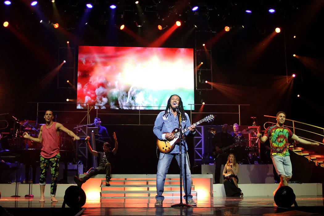 """The artist known as OneDunn is shown performing as reggae legend Bob Marley at """"Legends in Concert"""" at Flamingo Las Vegas on Tuesday, July 24, 2018. (Legends in Concert)"""