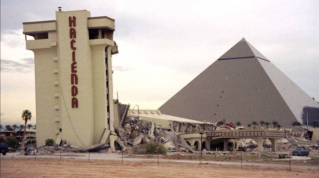 A portion of the Hacienda Hotel still stands after the rest of the structure fell during the New Year's Eve implosion festivities on the Las Vegas Strip, Wednesday, Jan. 1, 1997. The remaining str ...