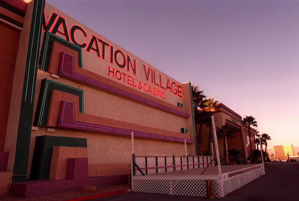 Vacation Village is shown in this Dec. 15, 2000, photo with Mandalay Bay in the background. The hotel-casino closed in 2002 after 12 years of operation, and later became the site of the Town Squa ...