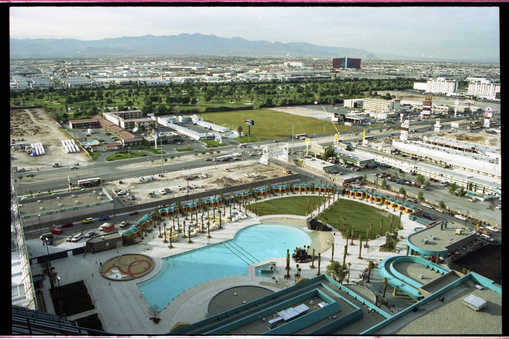 A Jan. 12, 1994, image taken from the MGM Grand Hotel & Theme Park looking west towards the outdoor swimming pool and Las Vegas Boulevard South with the La Quinta Inn, the Desert Rose Motel, t ...