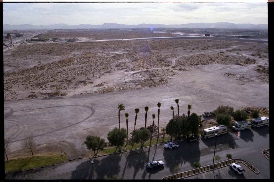 This 1994 photo taken from the Hacienda Hotel looking southwest towards Russell Road and Interstate 15 shows a vacant lot on Las Vegas Boulevard South. The Hacienda closed on Dec. 10, 1996, and wa ...