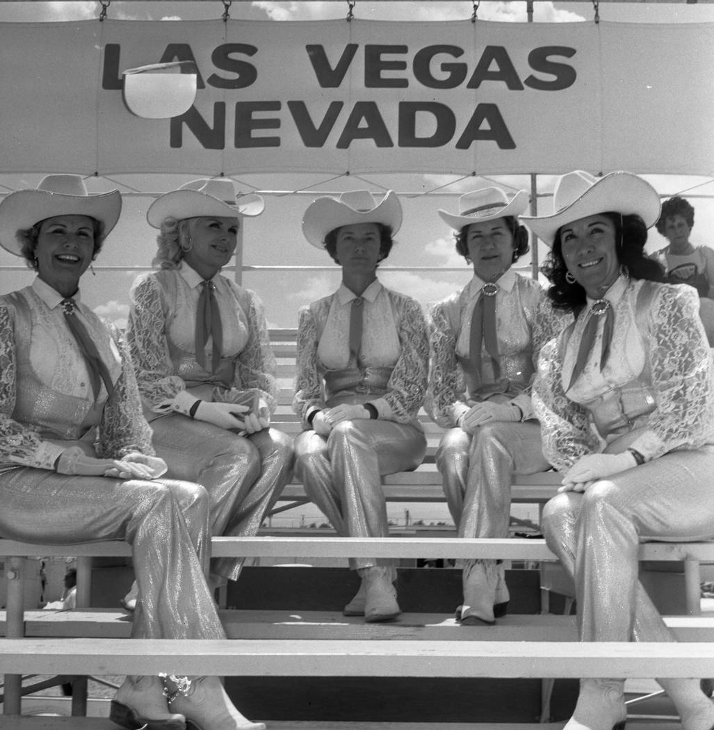 Members of the Los Montadas Riding Club in their silver outfits are shown on Jan. 22, 1968. They were to ride for the Hacienda Hotel during Helldorado Week in May, 1968. From left, Helen Esslinger ...