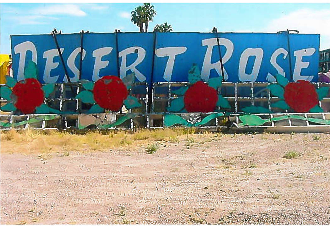 A sign for the Desert Rose motel. (Las Vegas Review-Journal)