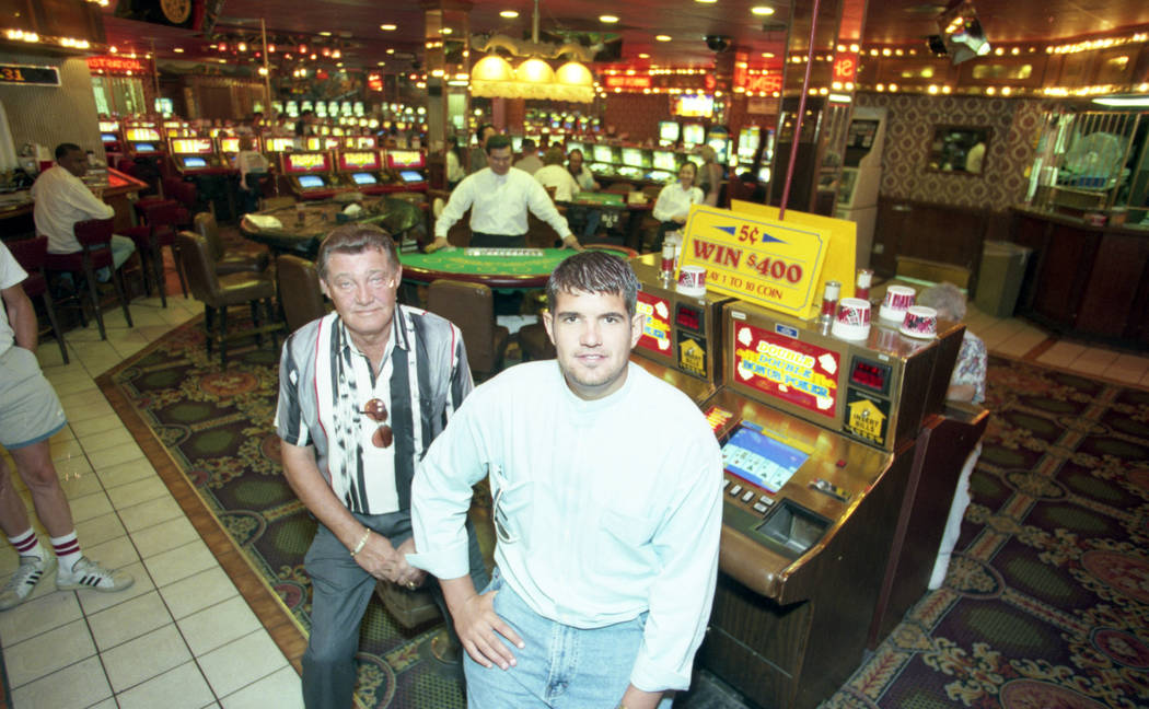 Owner John Woodrum, left, with his son, Michael, 25, at the Klondike Inn hotel-casino at 5191 Las Vegas Boulevard South on Aug. 10, 1997. According to Woodrum, about 90 percent of the casino's cus ...