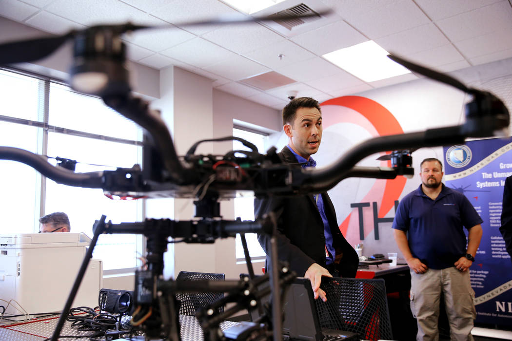 Brett Kanda, director of business development at Nevada Institute for Autonomous Systems, talks to a reporter at NIAS's new Nevada Drone Center for Excellence of Public Safety, located inside the ...