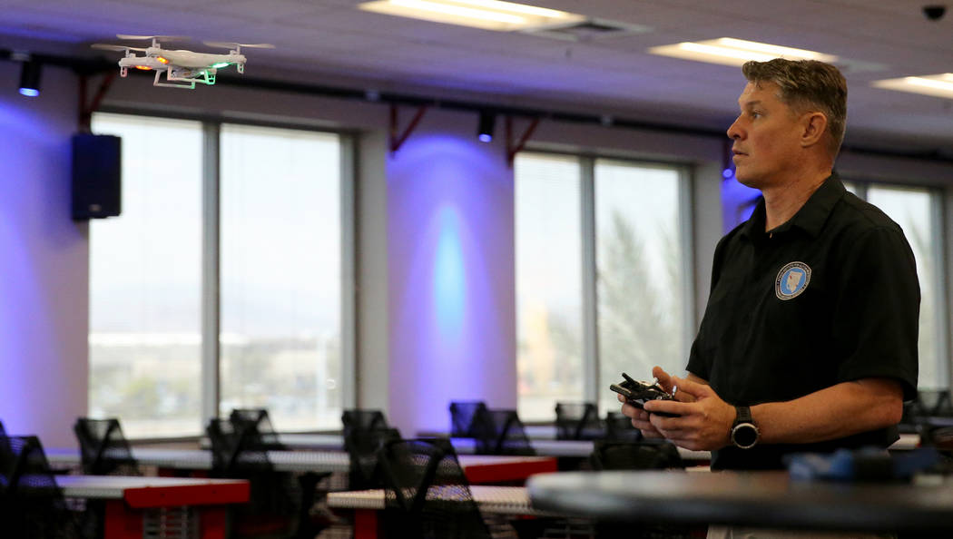 Dean Keck, deputy director of Nevada Institute for Autonomous Systems, demonstrates a training drone at NIAS's new Nevada Drone Center for Excellence of Public Safety, located inside the Switch In ...