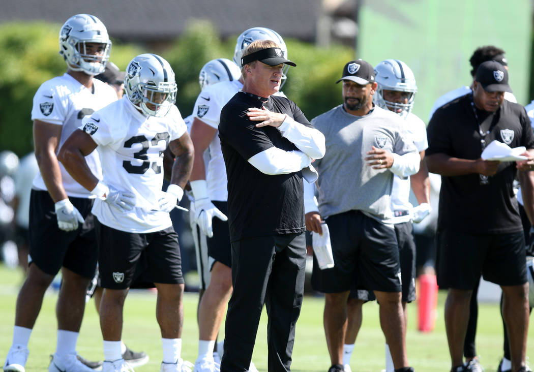Oakland Raiders head coach Jon Gruden oversees the offensive drills at the team's NFL training camp in Napa, Calif., Friday, July 27, 2018. Heidi Fang Las Vegas Review-Journal @HeidiFang