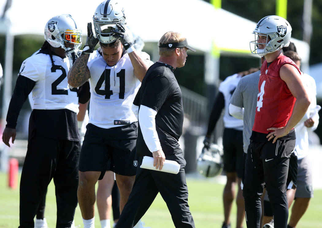 Oakland Raiders head coach Jon Gruden walks past running back Marshawn Lynch (24), left, running back Keith Smith (41) and quarterback Derek Carr (4), right, at the Oakland Raiders training camp i ...