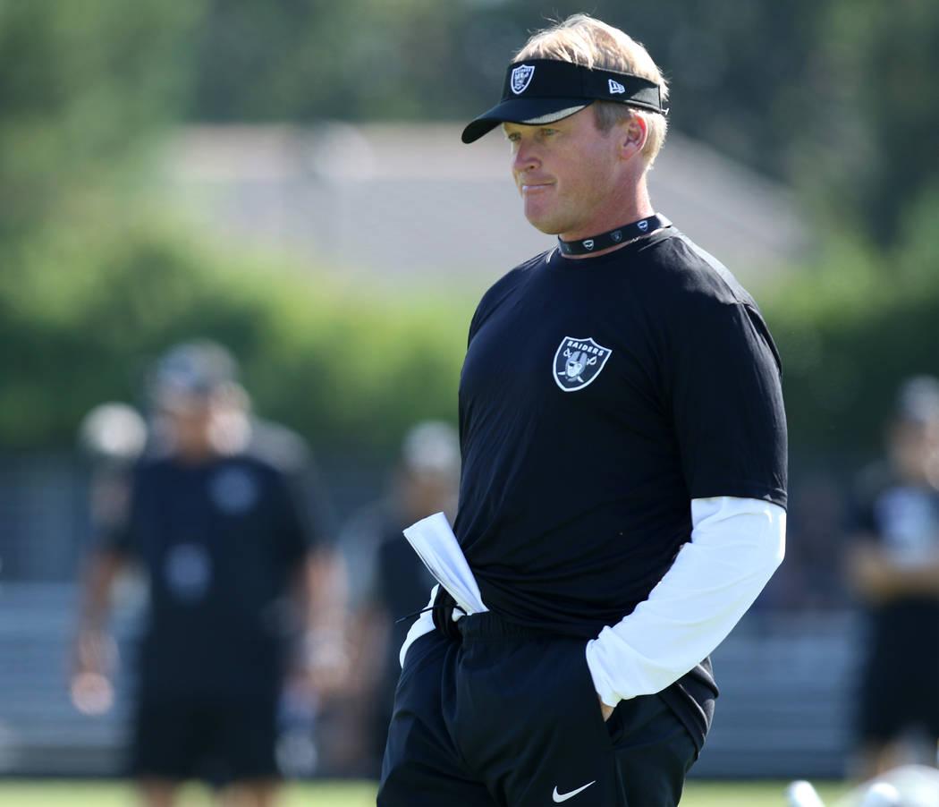 Head coach Jon Gruden at the Oakland Raiders training camp in Napa, Calif., Friday, July 27, 2018. Heidi Fang Las Vegas Review-Journal @HeidiFang