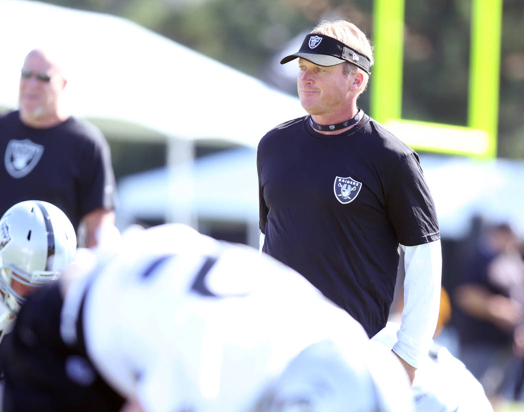 Oakland Raiders head coach Jon Gruden watches as the team warms up at their NFL training camp in Napa, Calif., Friday, July 27, 2018. Heidi Fang Las Vegas Review-Journal @HeidiFang