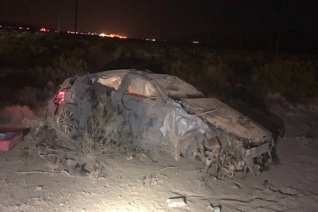 A man and woman died late Friday, July 27,2018, after the car they were in was involved in a rollover crash on Interstate 15 near Primm. (Nevada Highway Pa