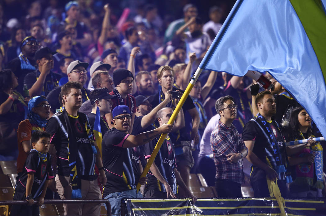 Las Vegas Lights FC fans cheer during the second half of a United Soccer League game against the Tulsa Roughnecks FC at Cashman Field in Las Vegas on Saturday, May 5, 2018. Chase Stevens Las Vegas ...