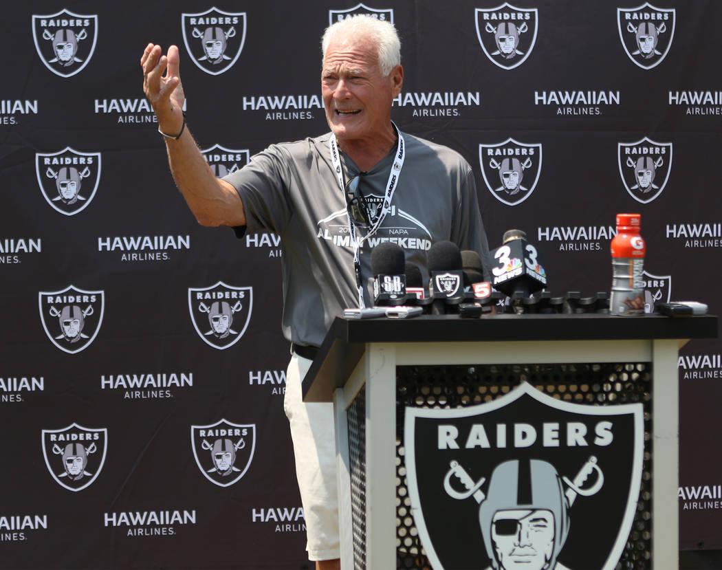 Former Oakland Raiders linebacker Phil Villapiano answers media questions at the team's NFL training camp at the Napa Memorial Stadium in Napa, Calif., Saturday, July 28, 2018. Heidi Fang Las Vega ...