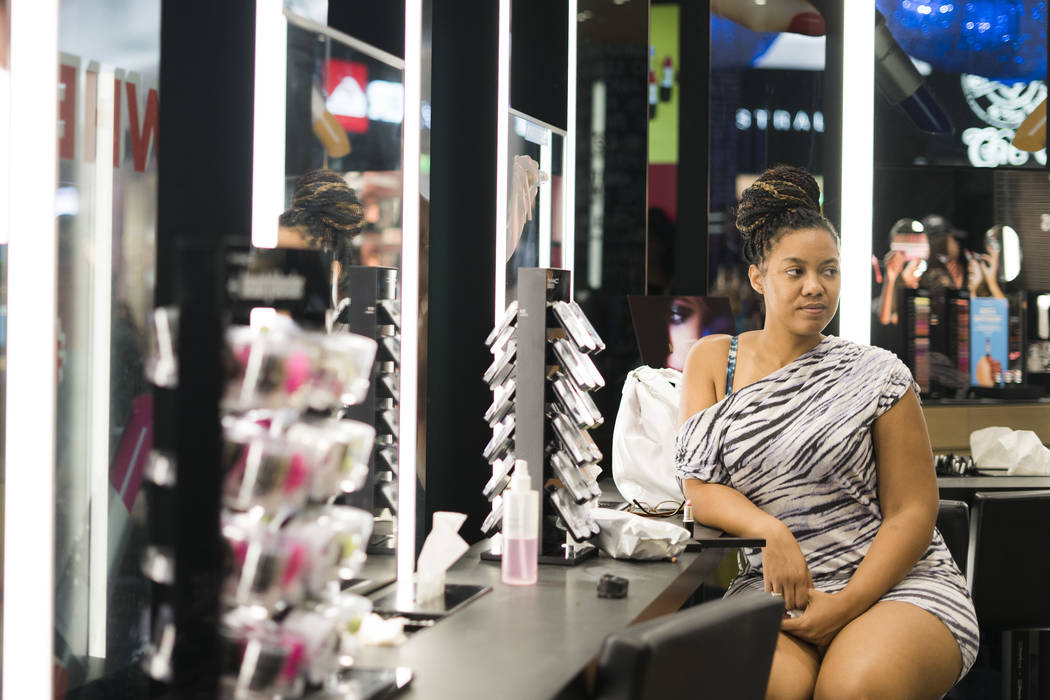 Amber White-Davidson gets free lipstick at MAC Cosmetics at the Miracle Mile Shops for National Lipstick Day in Las Vegas, Sunday, July 29, 2018. (Marcus Villagran/Las Vegas Review-Journal) @ ...