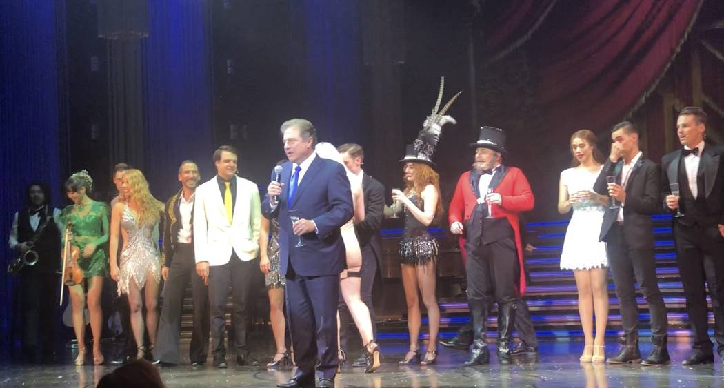 """Venetian/Palazzo President George Markantonis is shown giving a final speech for """"Baz"""" at Palazzo Theater. The show closed on Saturday, July 28, 2018. (John Katsilometes/Las Vegas Review-Journal) ..."""