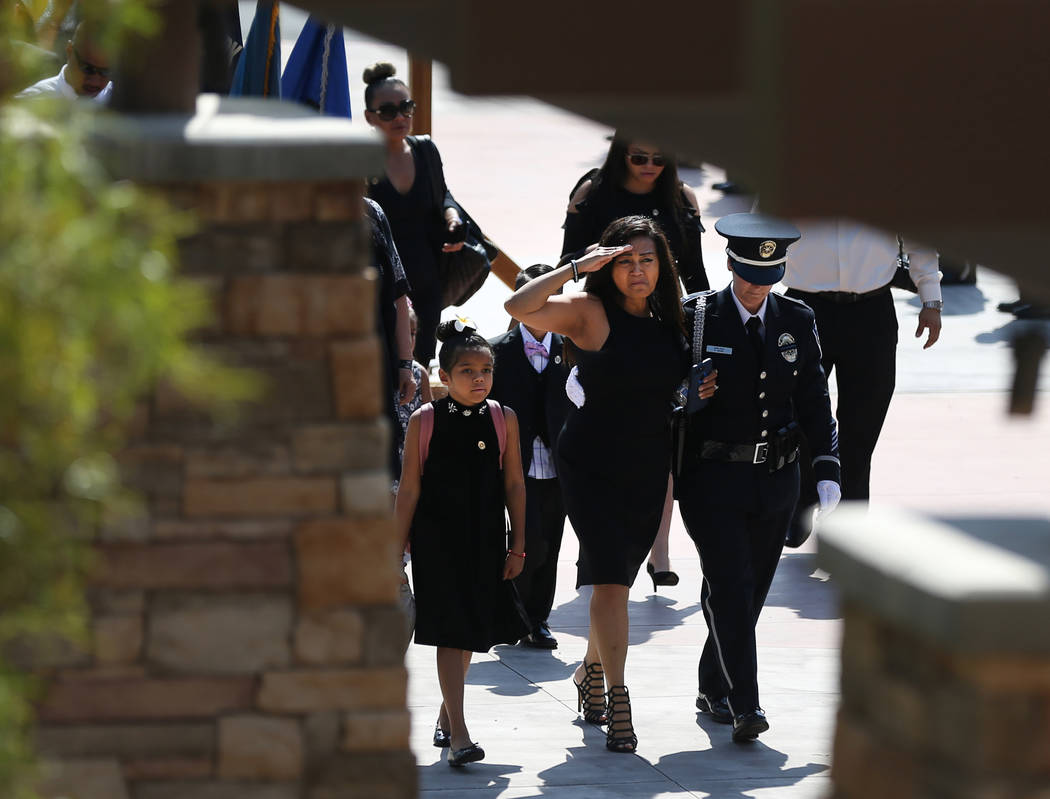 Arlyn Eng, wife of Kyle Eng, arrives at funeral services for her husband, Las Vegas Corrections Officer Kyle Eng, at Canyon Ridge Christian Church Monday, July 20, 2018. K.M. Cannon Las Vegas Revi ...