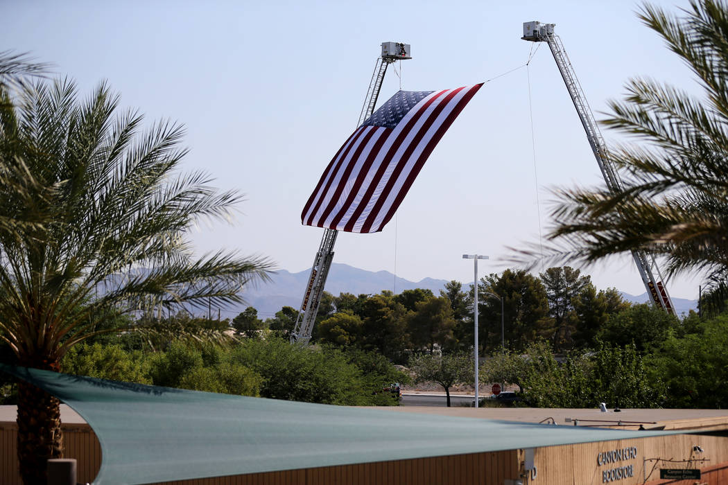 The American flag flies during funeral services for Las Vegas Corrections Officer Kyle Eng at Canyon Ridge Christian Church Monday, July 20, 2018. K.M. Cannon Las Vegas Review-Journal @KMCannonPhoto