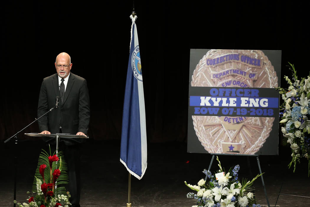 Pastor Kevin Odor says a prayer during funeral services for Las Vegas Corrections Officer Kyle Eng at Canyon Ridge Christian Church Monday, July 20, 2018. K.M. Cannon Las Vegas Review-Journal @KMC ...
