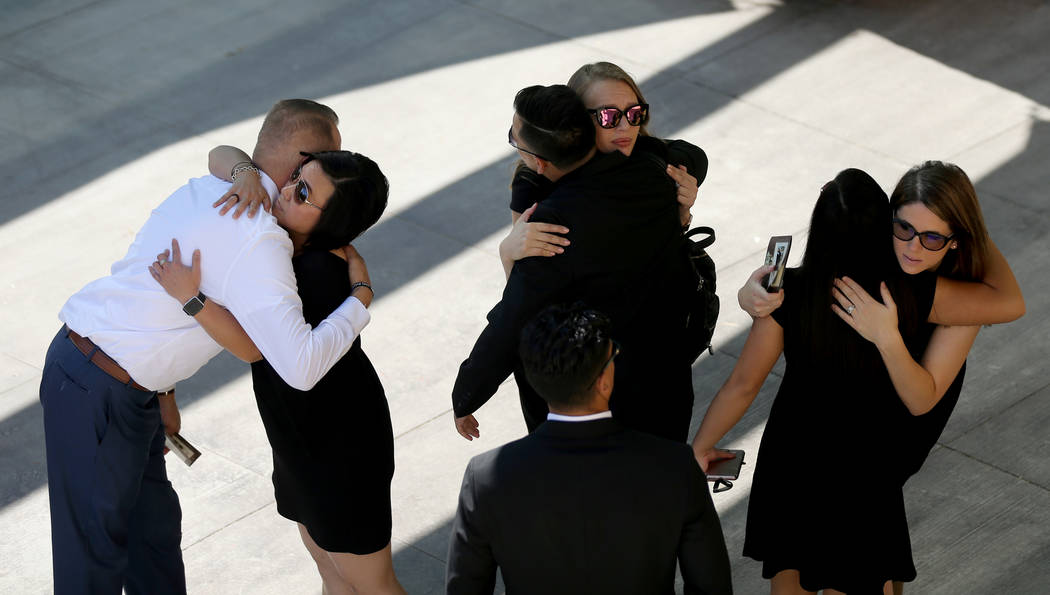 Loved ones arrive at funeral services for Las Vegas Corrections Officer Kyle Eng at Canyon Ridge Christian Church Monday, July 20, 2018. K.M. Cannon Las Vegas Review-Journal @KMCannonPhoto