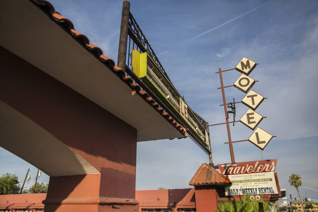 The Travelers Motel at 1100 Fremont Street on Monday, July 30, 2018, in Las Vegas. Benjamin Hager Las Vegas Review-Journal @benjaminhphoto