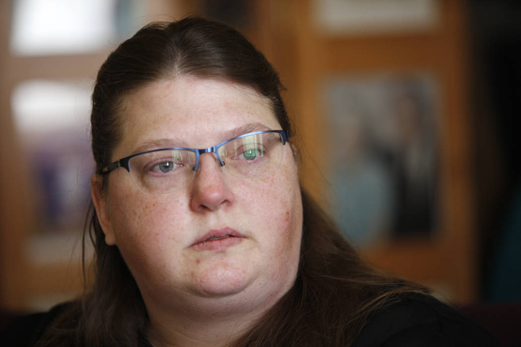 Carrie Olsen talks about the health issues of her son, Daemion Olsen, 9, to the Review-Journal at her home in Las Vegas, Tuesday, July 31, 2018. Medicaid announced a new rule in June that forced D ...