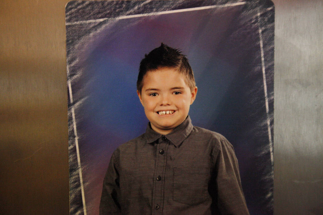 A photo of Daemion Olsen, 9, at his home in Las Vegas, Tuesday, July 31, 2018. Medicaid announced a new rule in June that forced Daemion's therapist, who he has been seeing for three years, to cut ...